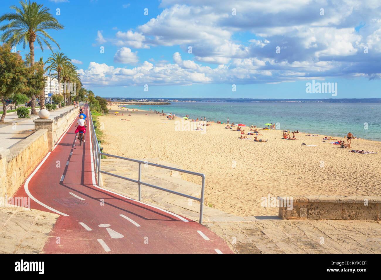 palma strand neben dem fahrrad route