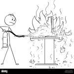 Cartoon Der Unternehmer Das Feuer Auf Buro Schreibtisch Mit Feuerloscher Brandbekampfung Stock Vektorgrafik Alamy