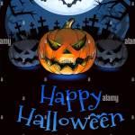 Jack O Lantern Im Vordergrund Mit Schonstem Comic Stil Leuchten In Der Dunkelheit Friedhof Hintergrund Fur Halloween Gruss Auf Bunten Kunstwerken Stockfotografie Alamy