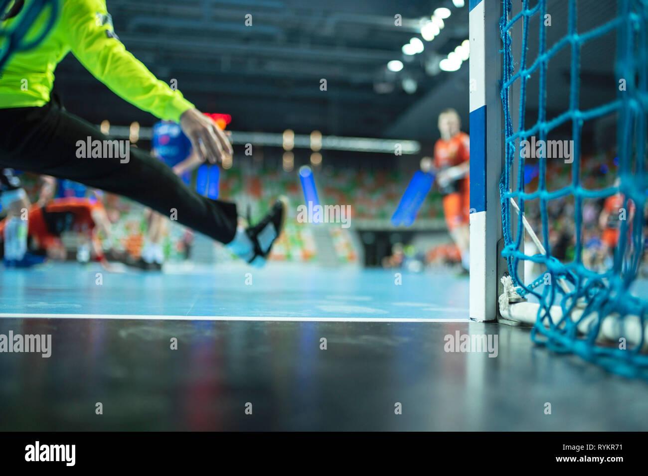 detail der handball torpfosten mit net