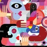 Moderne Abstrakte Kunst Malerei Mit Drei Personen Und Verschiedene Geometrische Formen Drei Leute Vector Illustration Stock Vektorgrafik Alamy