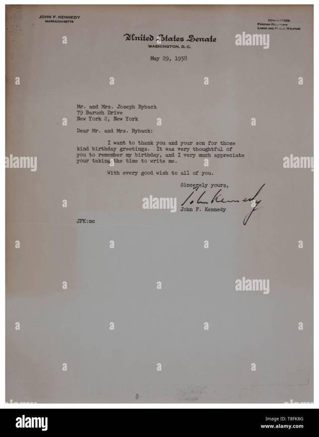 John-F.-Kennedy-Schreiben vom 30. Mai 30 in den US-Senat