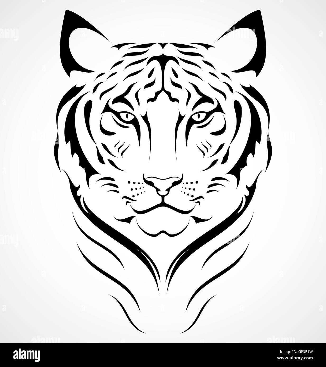 Diseno De Tatuaje De Tigre De Bengala Ilustracion Del