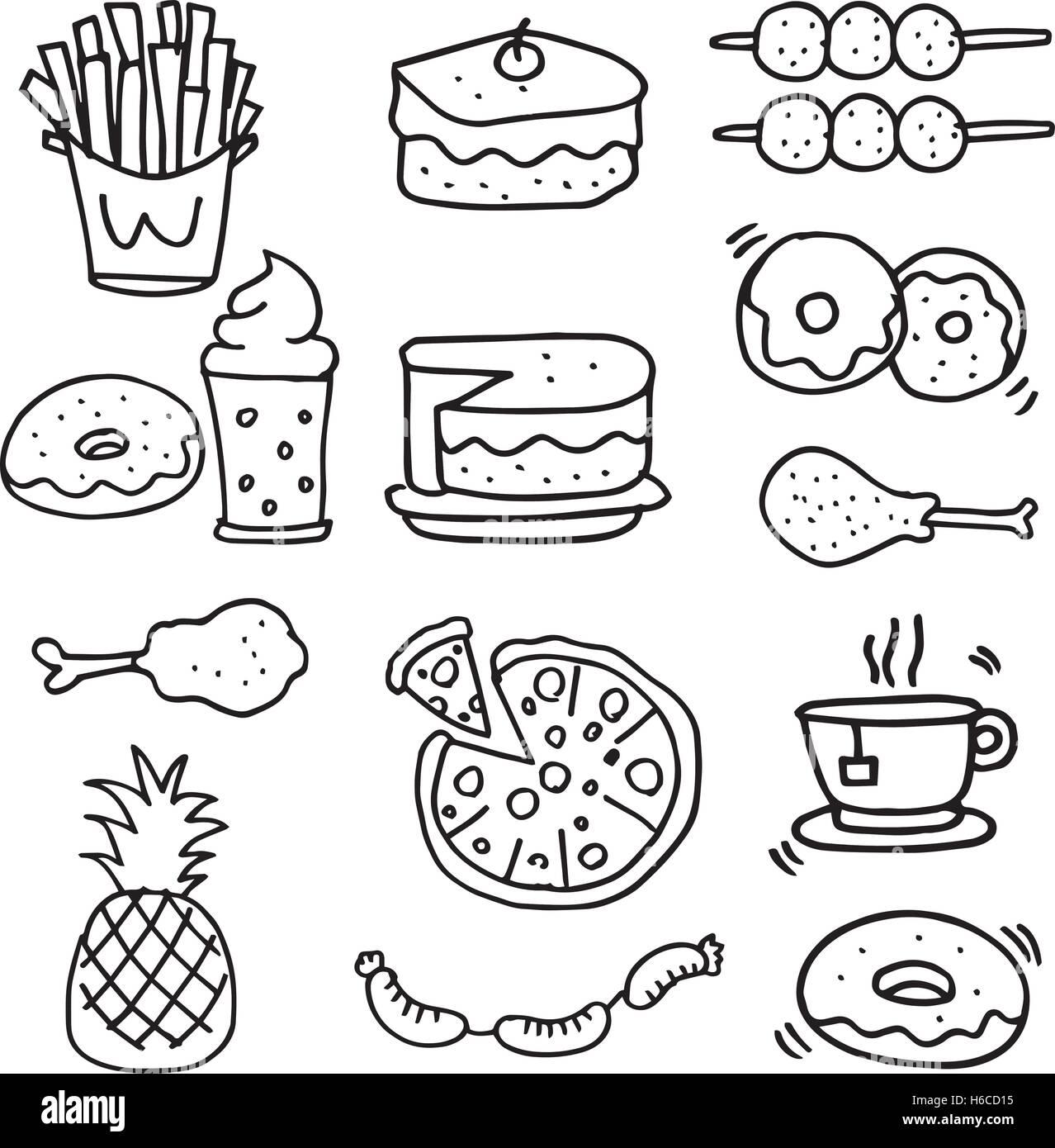 Doodle De Comida De Desayuno Almuerzo O Cena De Arte