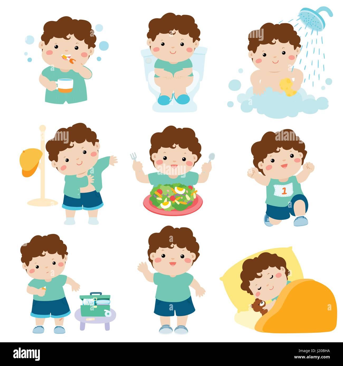 La Piel Marron Chico Lindo Tener Higiene Saludable Tomar