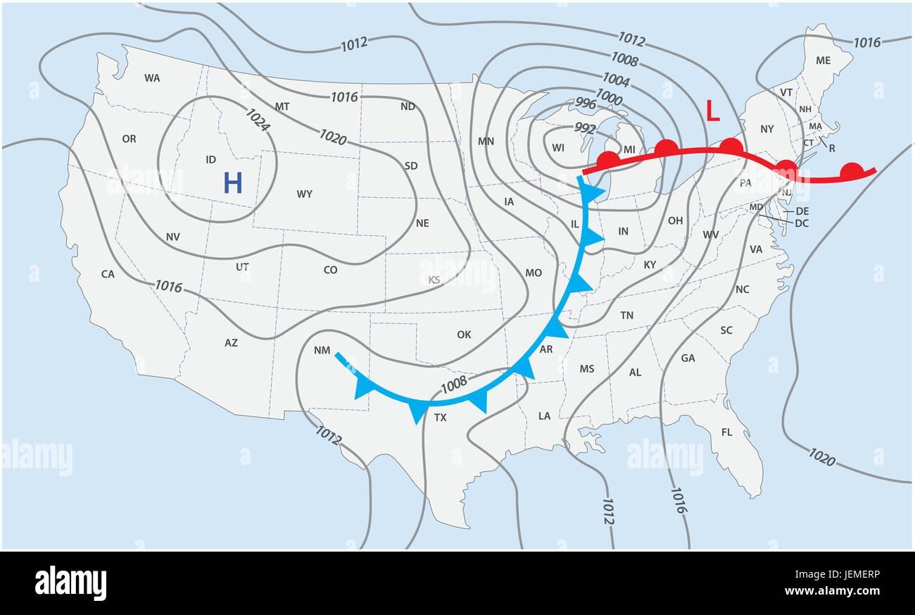 Imaginario Mapa Meteorologico De Los Estados Unidos De