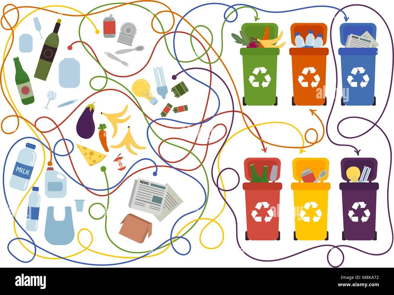 Laberinto De Reciclaje Para Ninos Con Una Solucion