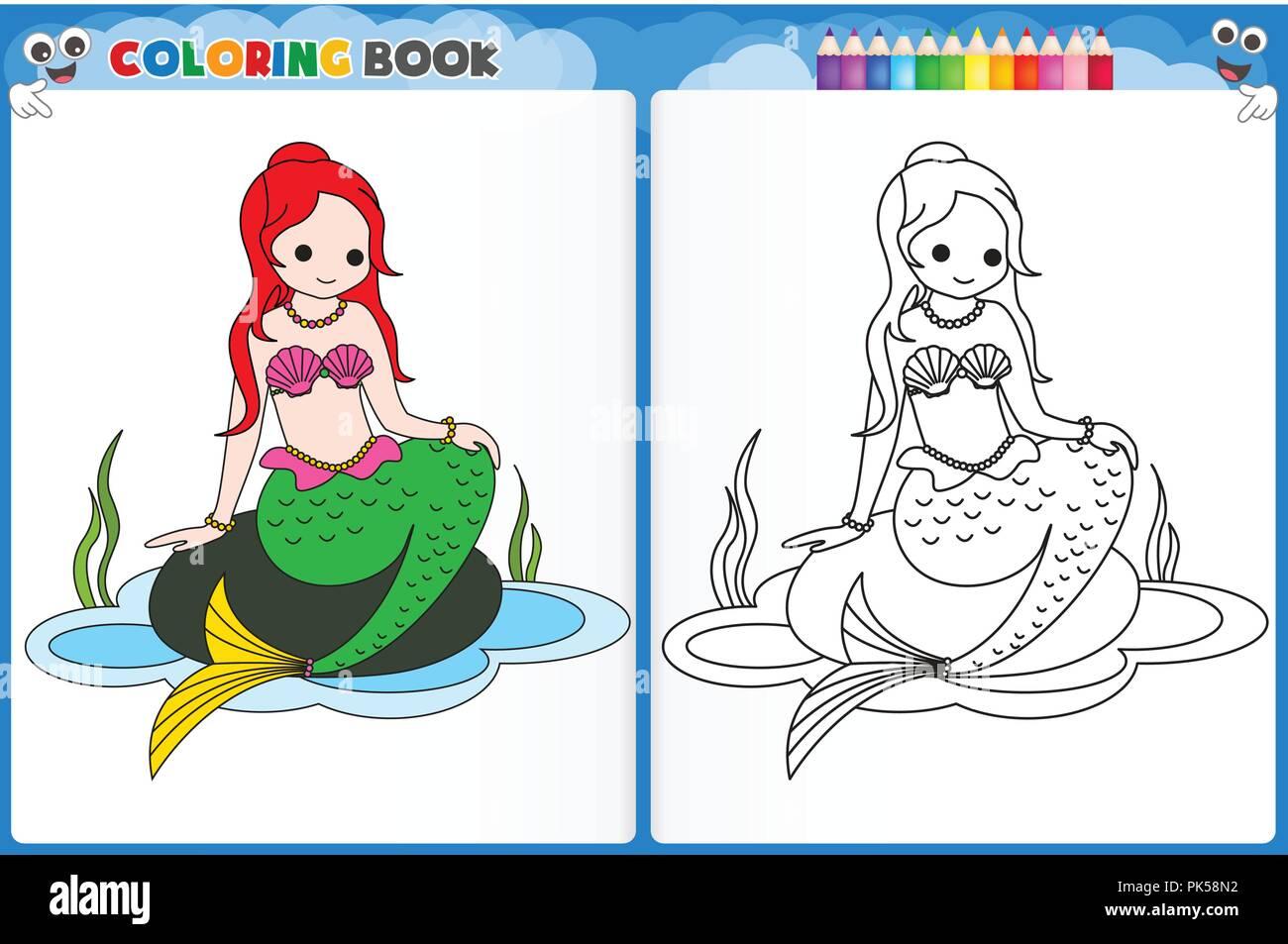 Sirena Pagina Para Colorear Con Coloridos Muestra Hoja Imprimible Guarderias Preescolares Para