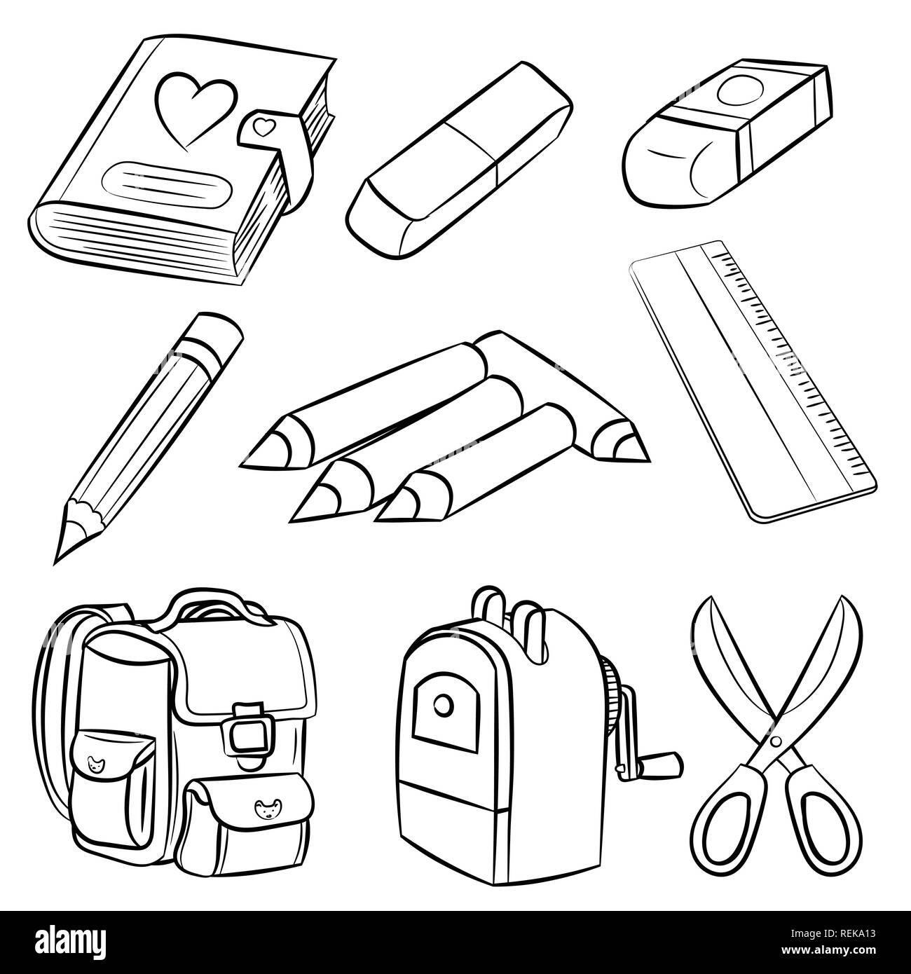 Back School Supplies Vector Hand Imagenes De Stock Amp Back