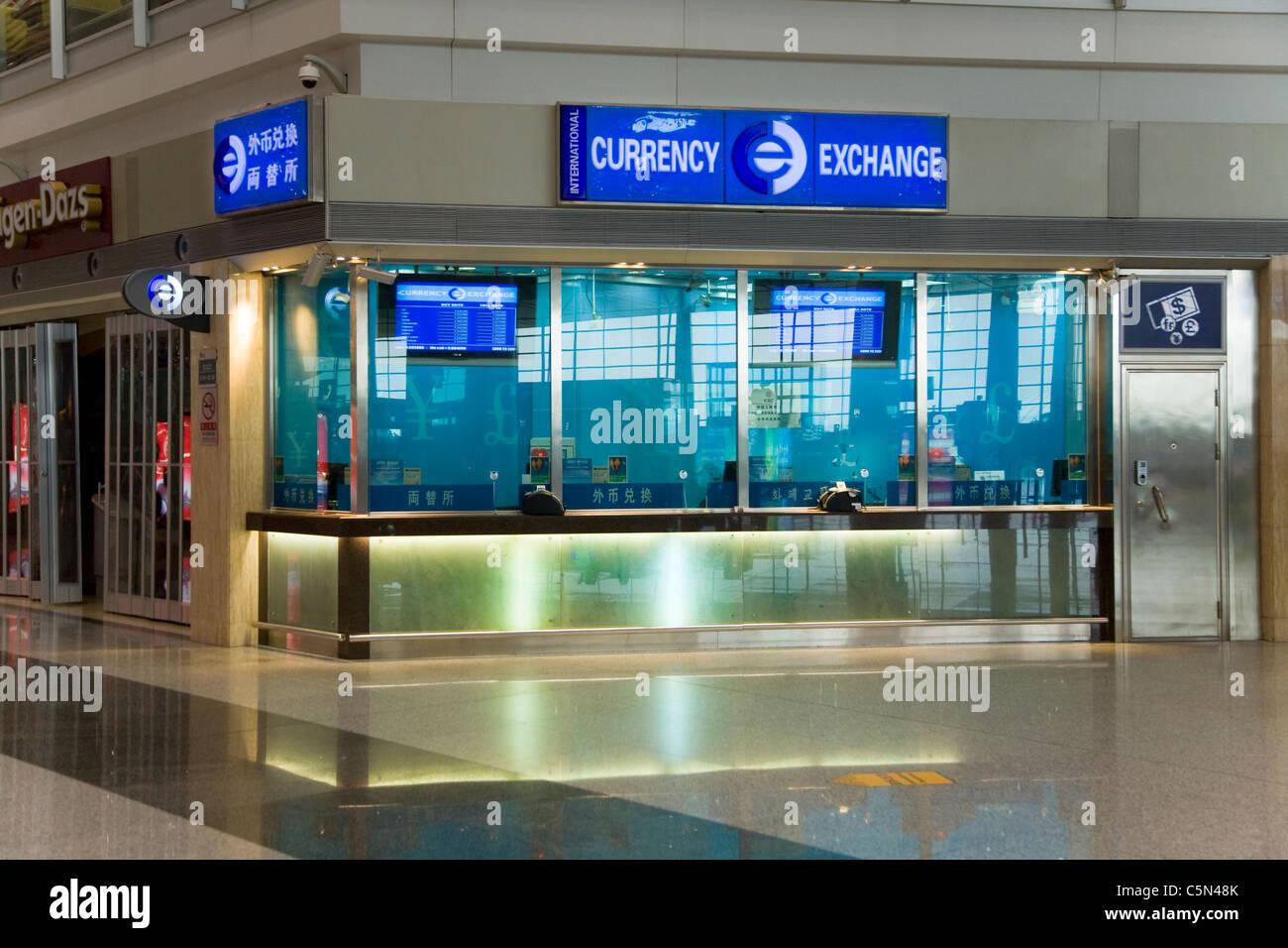 bureau de change bureau fonctionnait par international currency exchange ice automate a l aeroport international de pekin chine