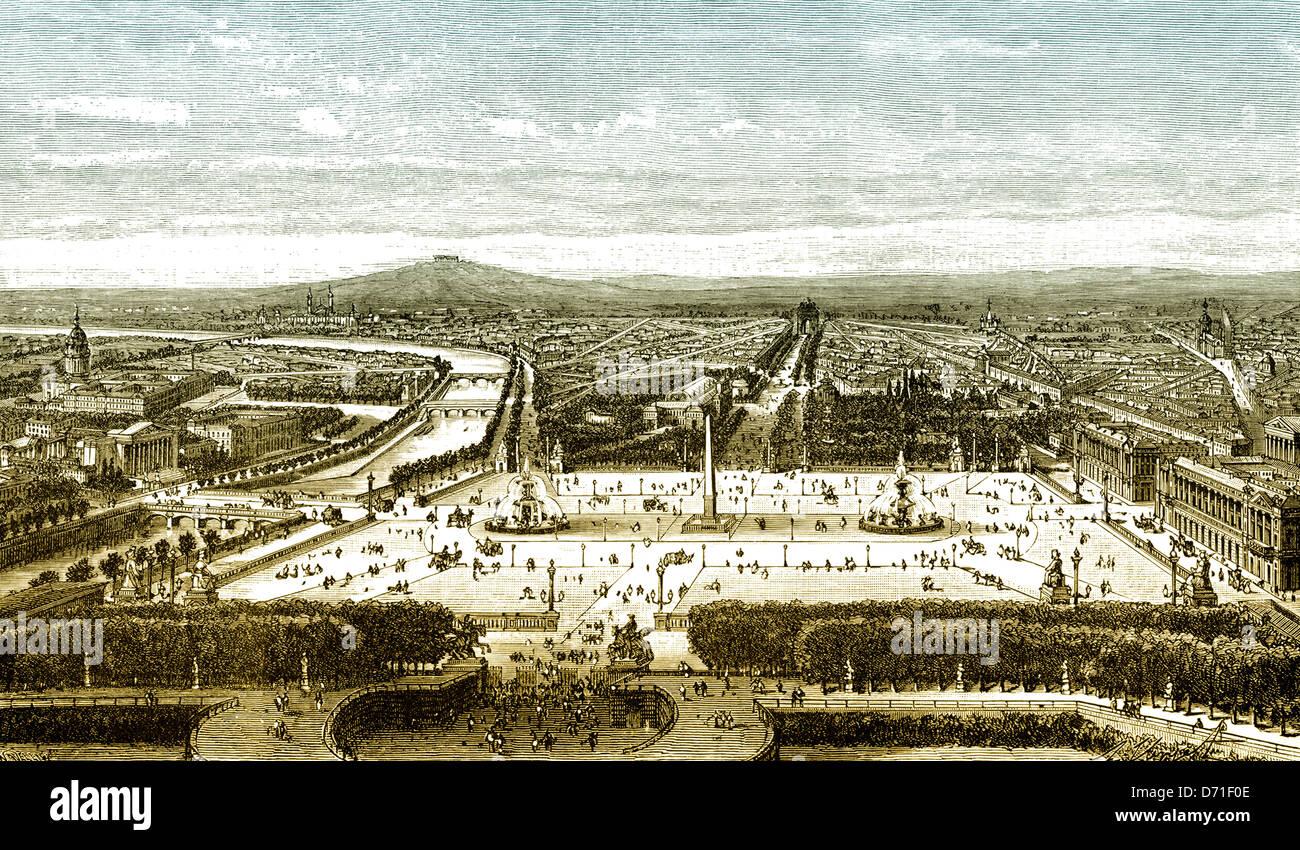 https www alamyimages fr photo image dessin de paysage urbain historique paris 19e siecle paris france europe 55967422 html