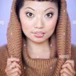 Avec Femme Asiatique Chaude Du Cou Sur Tableau De Bord Coupe De Cheveux Courte Avec Mignon Bangs Photo Stock Alamy