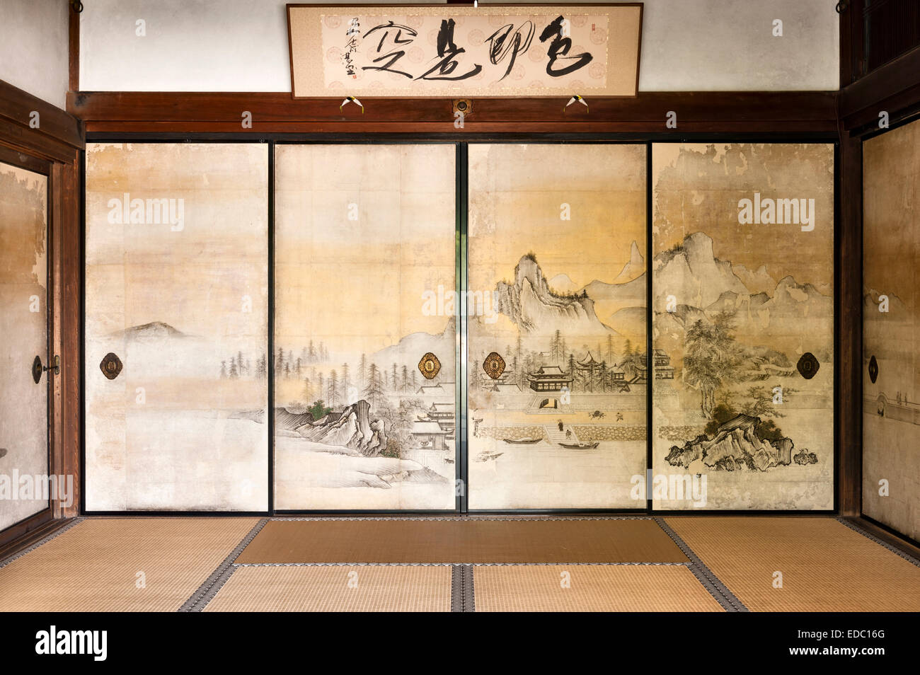 https www alamyimages fr photo image shoden ji temple zen kyoto japon 17c paysages chinois peint sur fusuma cloisons coulissantes dans les salles de reception 77096392 html