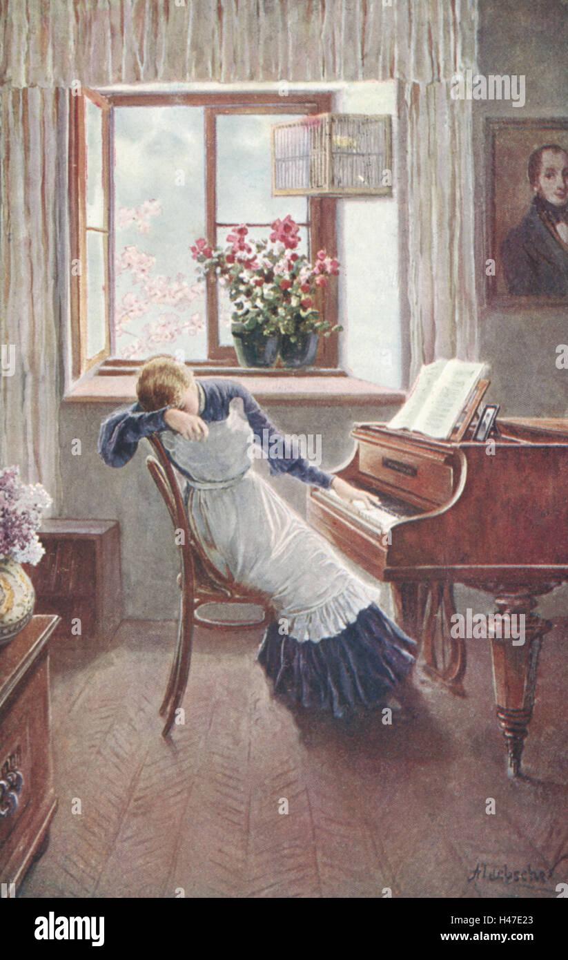 https www alamyimages fr photo image nostalgie peinture femme piano assis triste malheureux carte postale nostalgique 123095899 html