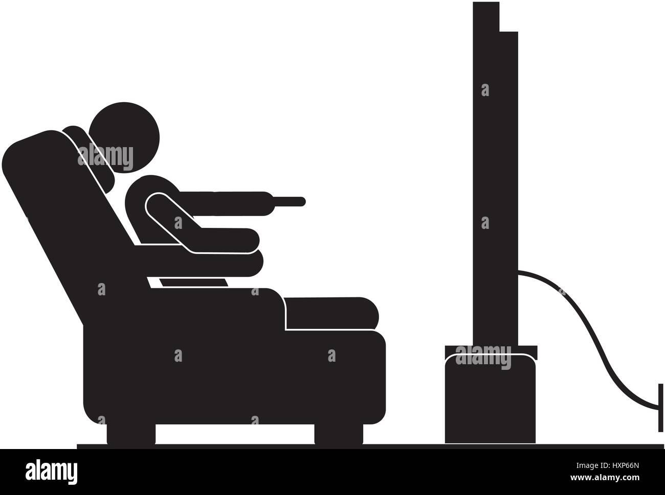 https www alamyimages fr photo image pictogramme silhouette noire dans la presidence de regarder la television 136941469 html