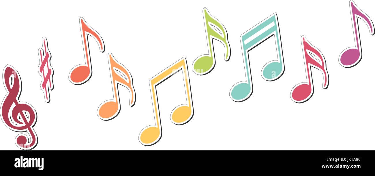 https www alamyimages fr photo image des notes de musique en couleurs sur une gamme musicale 149896320 html