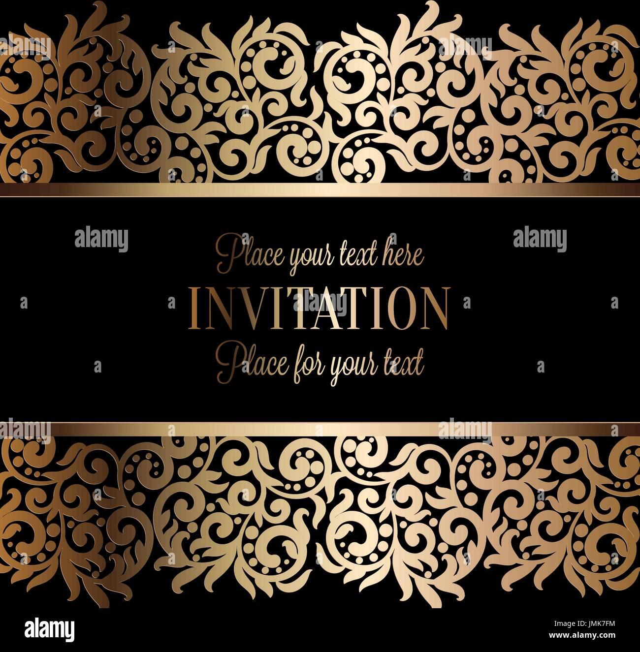 https www alamyimages fr baroque antique d invitation de mariage de luxe de l or sur fond noir avec cadre et la place pour le texte lacy feuillage avec gradient de brillant image150399080 html
