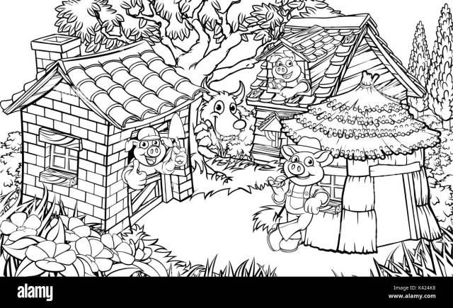 Le conte des trois petits cochons Image Vectorielle Stock - Alamy