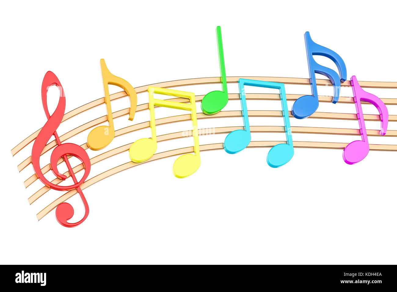 https www alamyimages fr photo image les notes de musique en couleurs rendu 3d isole sur fond blanc 163260562 html