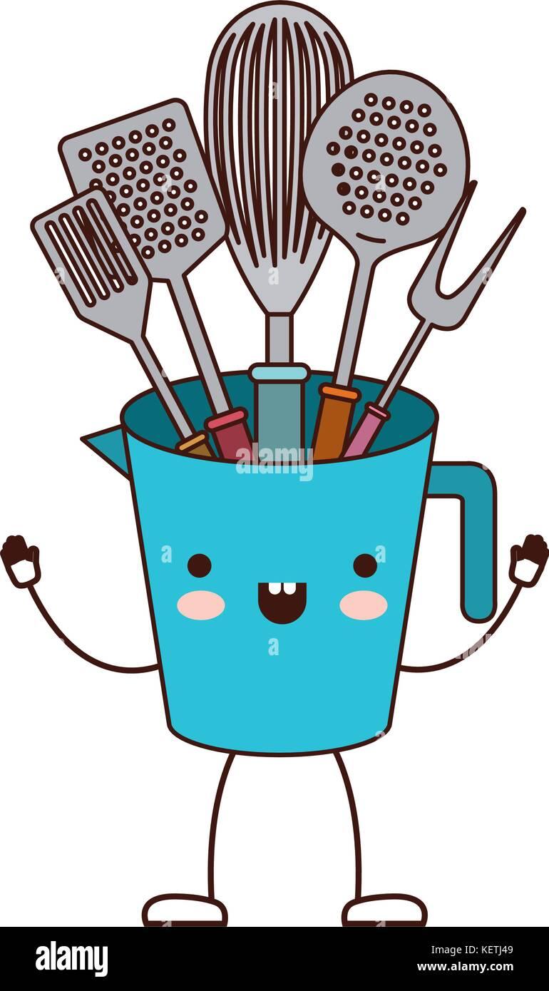 https www alamyimages fr photo image pot avec des ustensiles de cuisine silhouette dessin anime colore 164039577 html