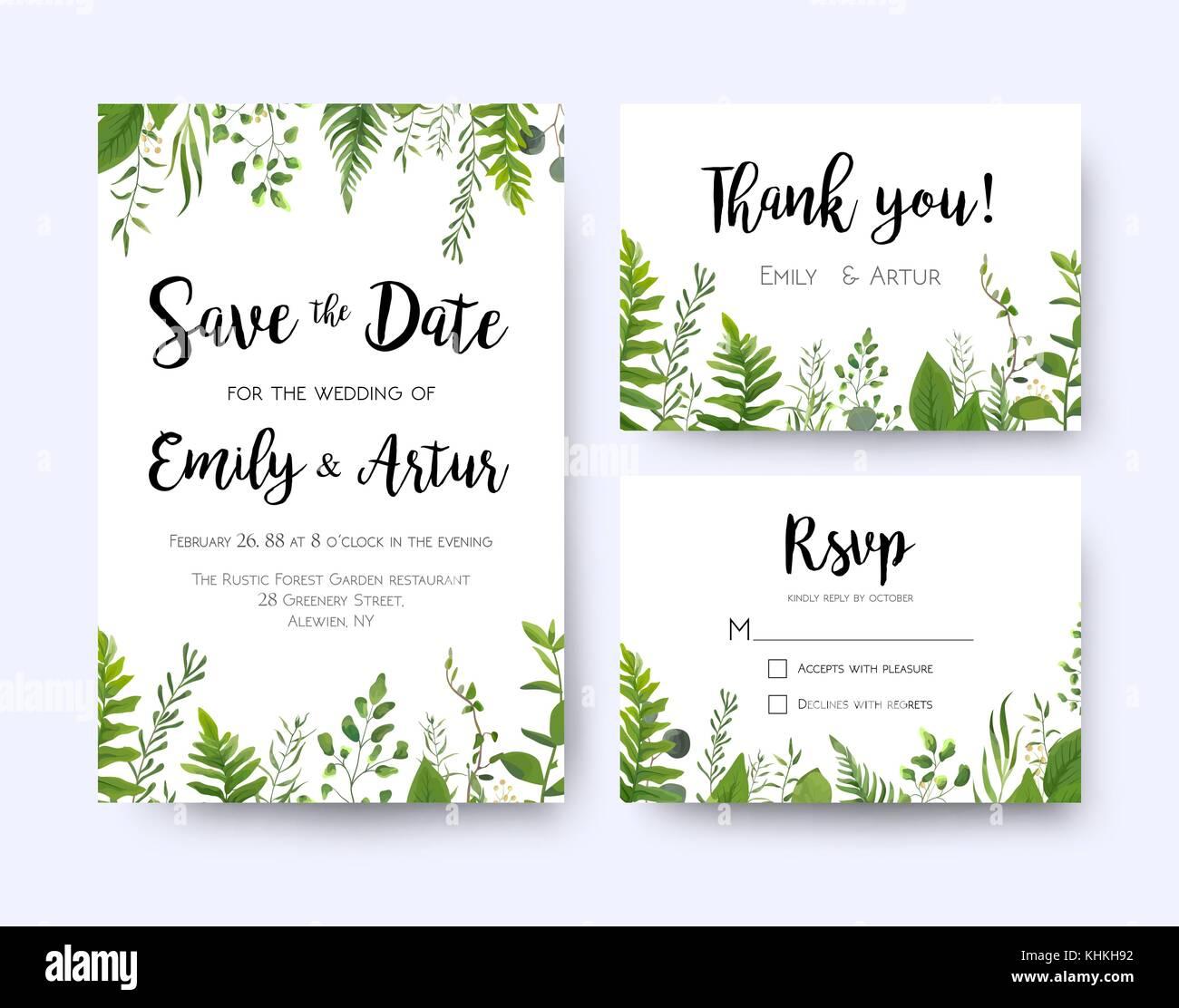 https www alamyimages fr photo image invitation mariage invitation carte de remerciement rsvp menu vector design floral verdure fronde de fougere branche d eucalyptus feuilles vert feuillage d herbes gr 165773134 html
