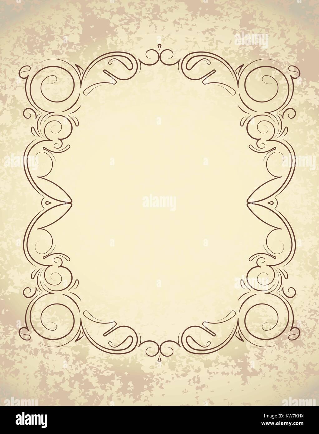 https www alamyimages fr photo image ancien cadre sur le papier avec de l espace vide pour le texte retro vintage carte de voeux invitation ou gabarit pour les notes 170428774 html