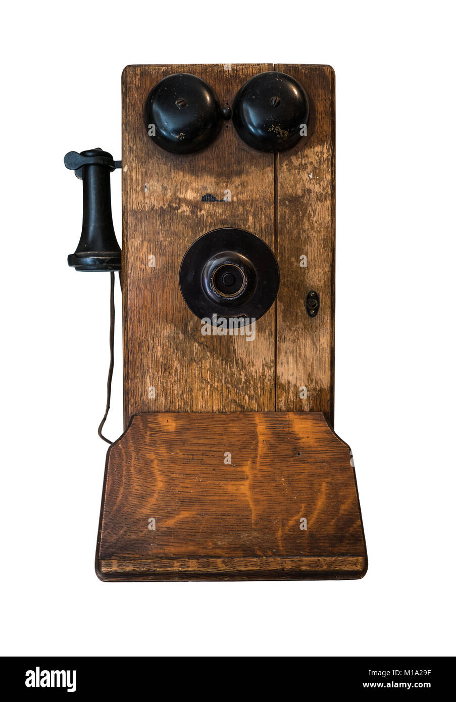 https www alamyimages fr photo image manivelle en bois ancien telephone isole sur fond blanc 172939691 html