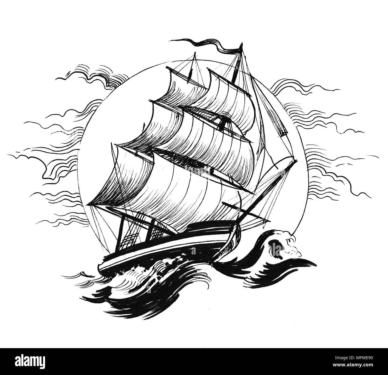 https www alamyimages fr navire a voile en mer agitee dessin noir et blanc encre image181773788 html