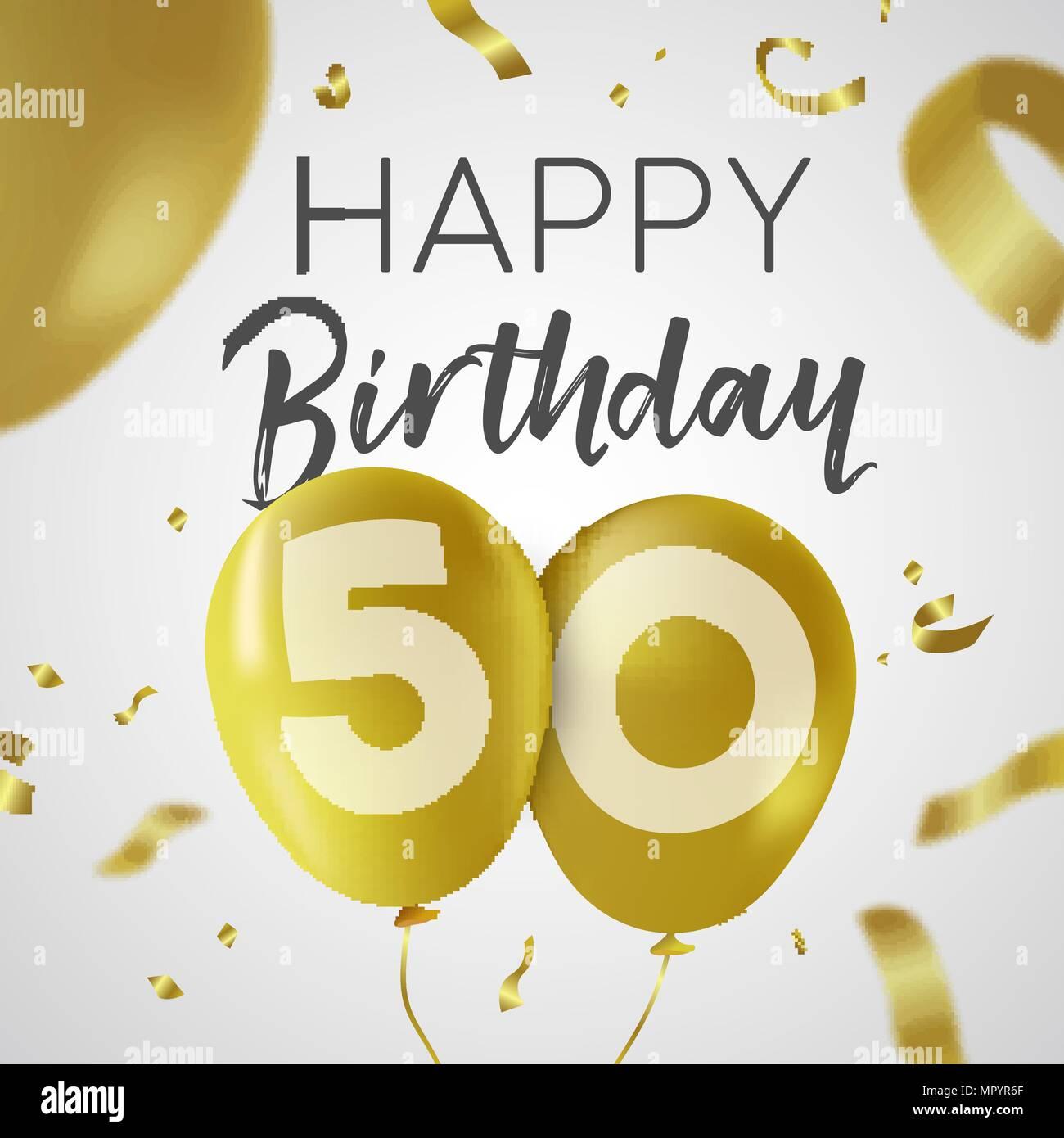 https www alamyimages fr joyeux anniversaire 50 50 ans de design de luxe avec de l or nombre d or et ballon confetti decoration ideal pour les fetes d invitation ou carte de voeux spe image186237031 html
