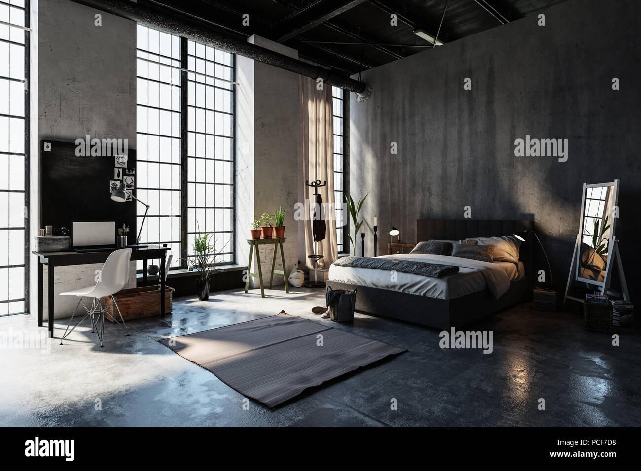 https www alamyimages fr grande chambre spacieuse dans un grenier avec conversion de hauteur des fenetres du sol au plafond des murs de beton gris double divan lit de style de plantes bureau et chaise image214235428 html