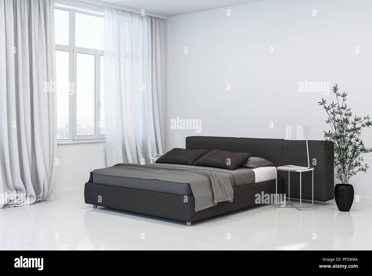 https www alamyimages fr spacieux et elegant gris monochromatique blanc interieur chambre a coucher avec divan lit avec tete de style en face de grandes fenetres avec des rideaux sur une image215873850 html