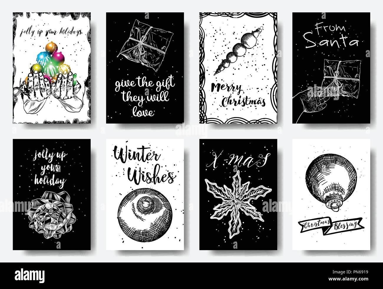 https www alamyimages fr carte de voeux de noel ensemble noir blanc et couleurs la main de decoration illustration pour l hiver les invitations cartes affiches etiquettes cadeaux et de prospectus image219570997 html