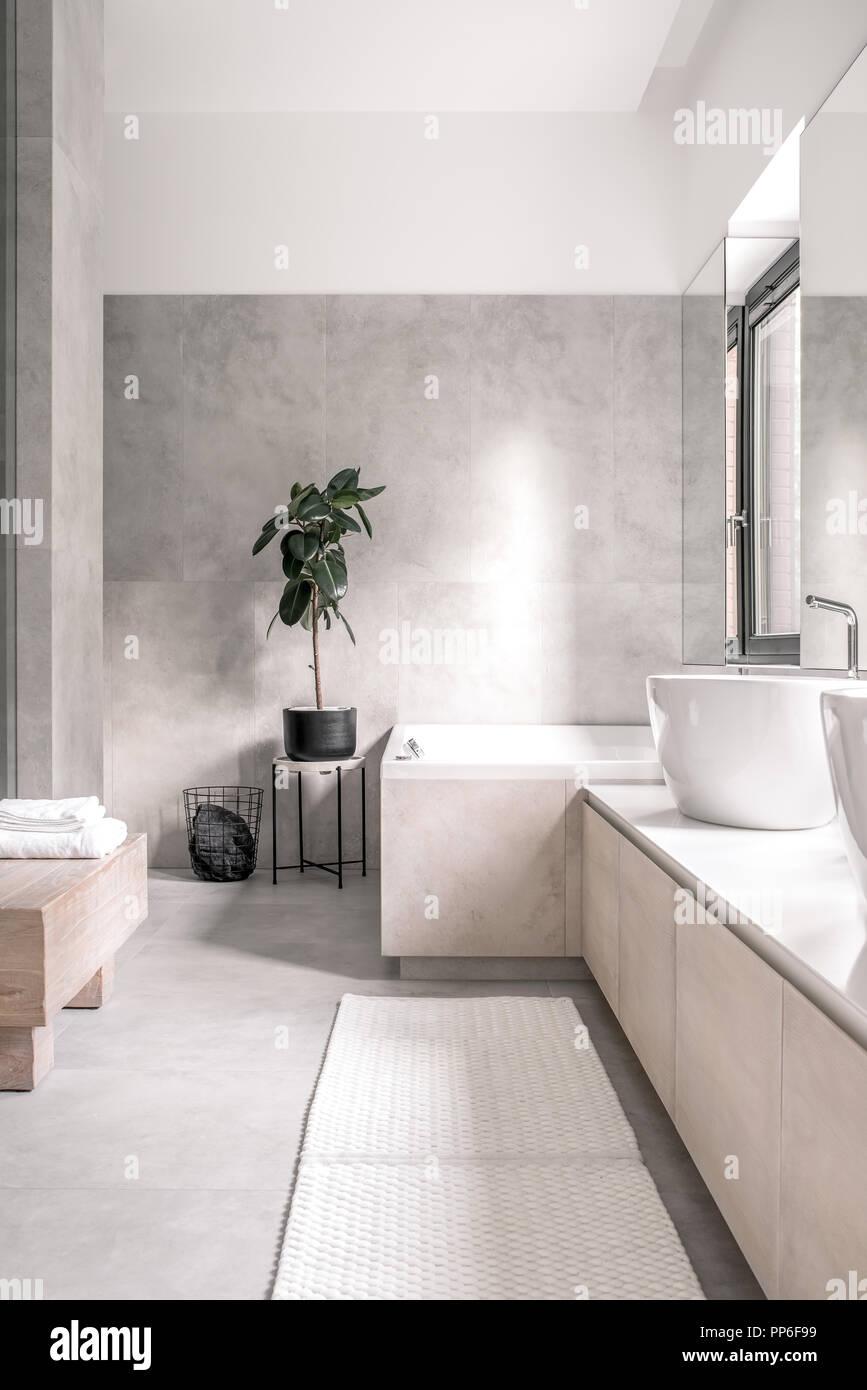 https www alamyimages fr salle de bains dans un style moderne avec un sol carrele blanc et de murs gris il y a une baignoire blanche eviers robinets chromes fenetre miroir tapis de lumiere se dresse avec a image220190581 html