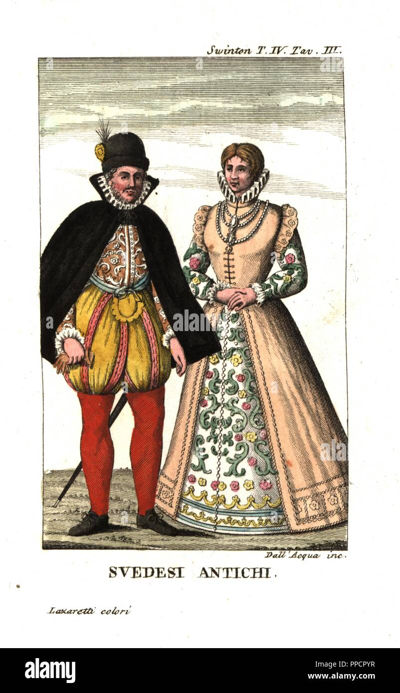 https www alamyimages fr costume du suedois au 16e siecle illustration d andrew swintons voyages en norvege au danemark et en russie 1792 la gravure sur cuivre par dell acqua coloriee par lazaretti de giovanni battista sonzognos collection des plus interessants voyages raccolta de viaggi uep interessanti milan 1815 1817 image220328299 html