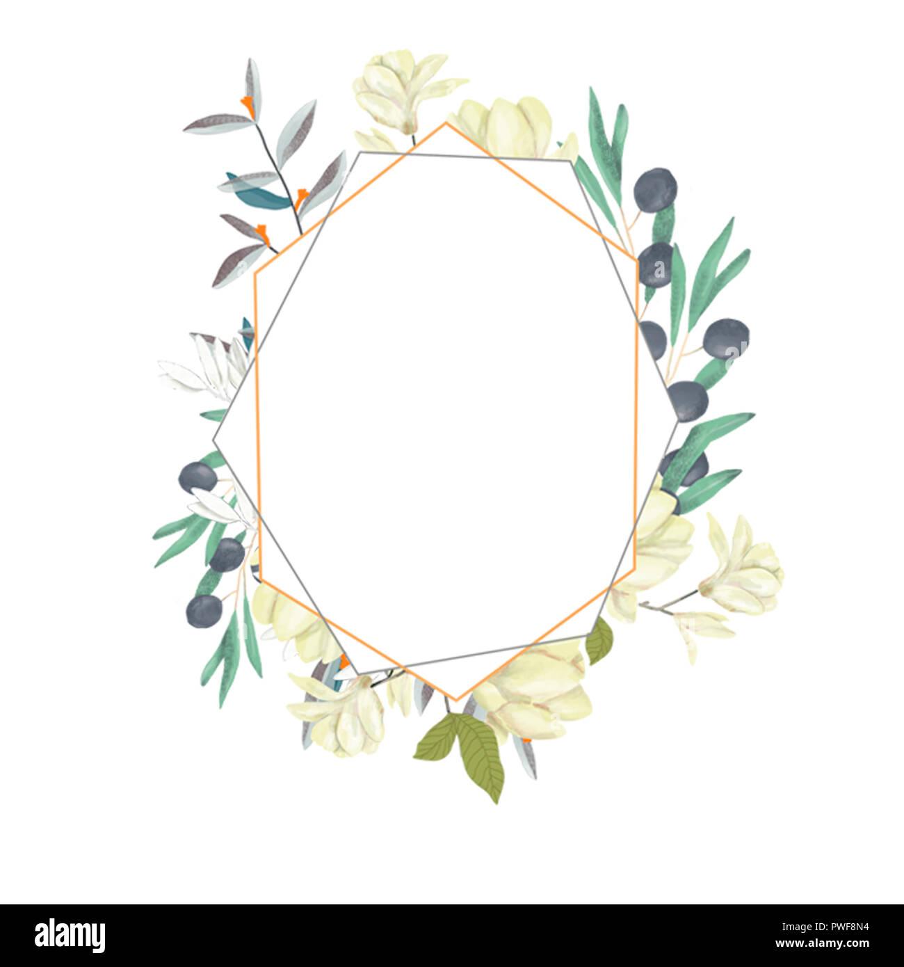 https www alamyimages fr invitation de mariage carte d olive inviter floral floral et geometrique magnolia cadre dore imprimer fond blanc image222226960 html
