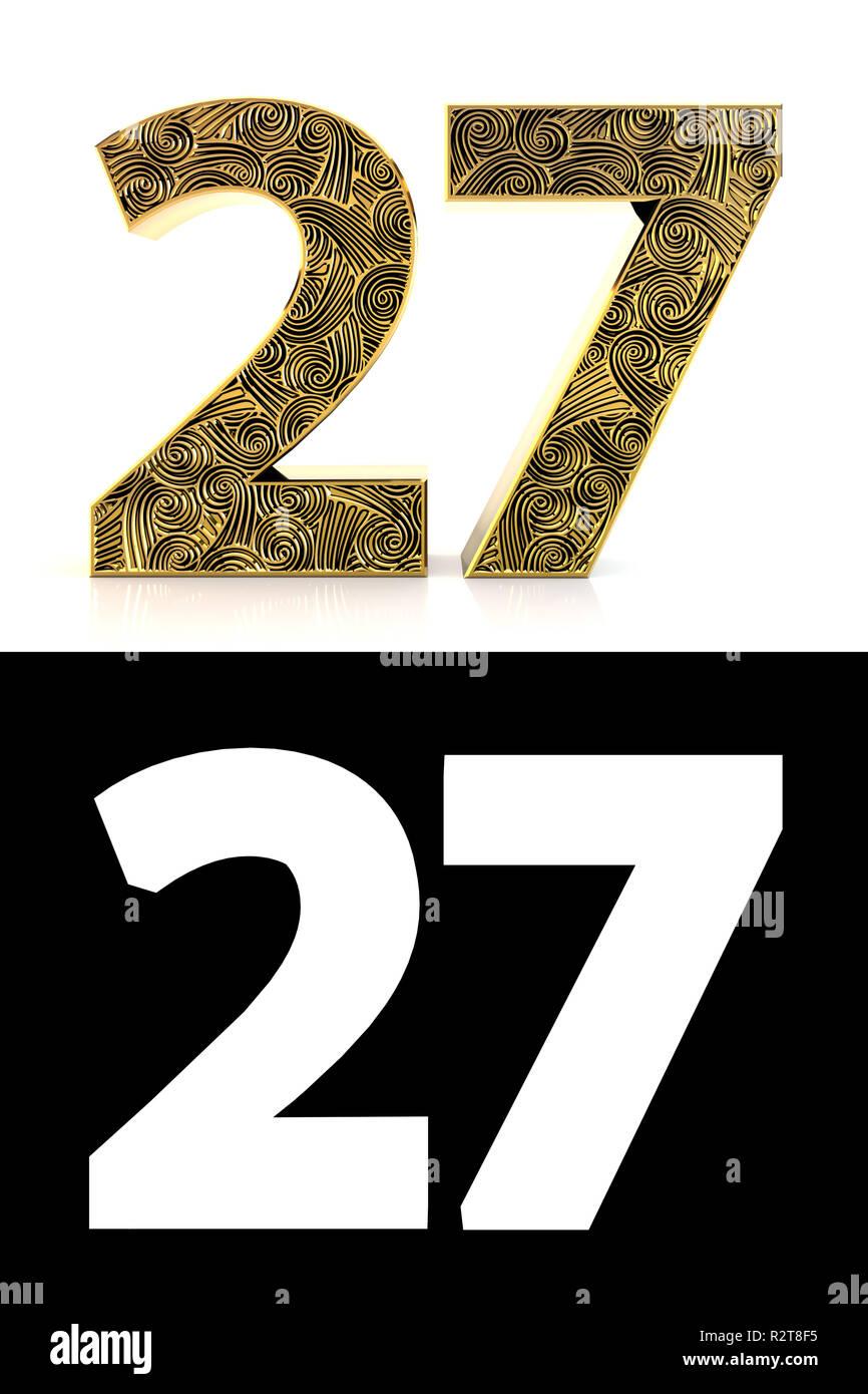 https www alamyimages fr nombre d or vingt sept 27 ans sur fond blanc avec style de motif zentangle ombre portee et canal alpha 3d illustration image225497641 html