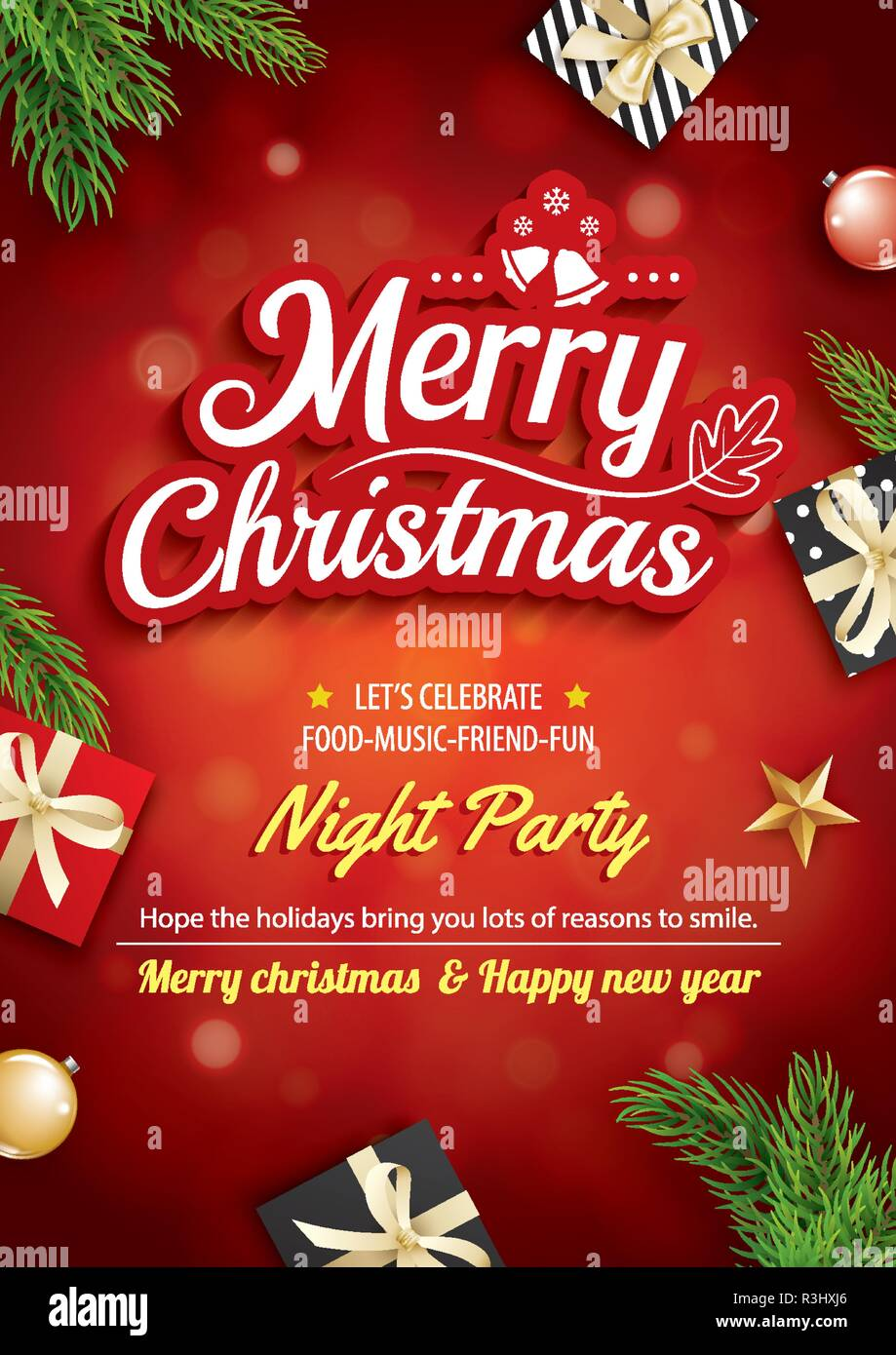https www alamyimages fr joyeux noel carte de souhaits et partie sur fond rouge theme invitation concept happy holiday modele image225972830 html