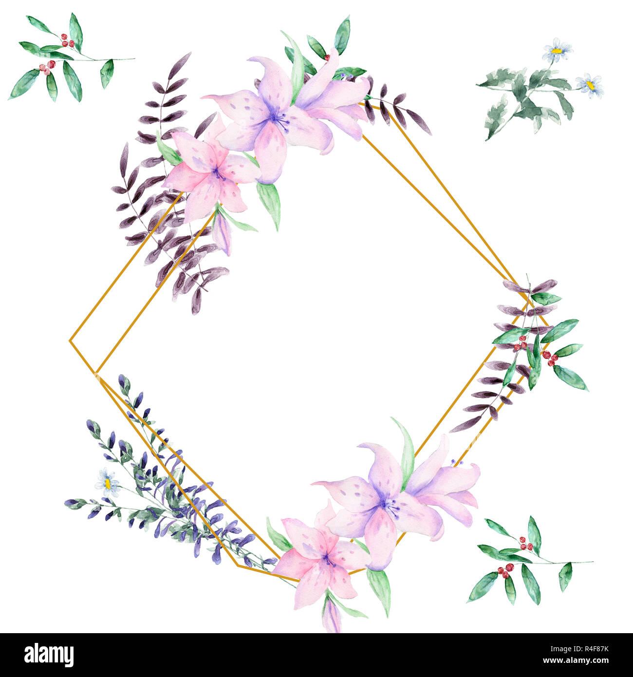 https www alamyimages fr invitation de mariage carte d olive inviter floral floral et geometrique magnolia cadre dore imprimer rectangle losange cadre arriere plan blanc image226529175 html