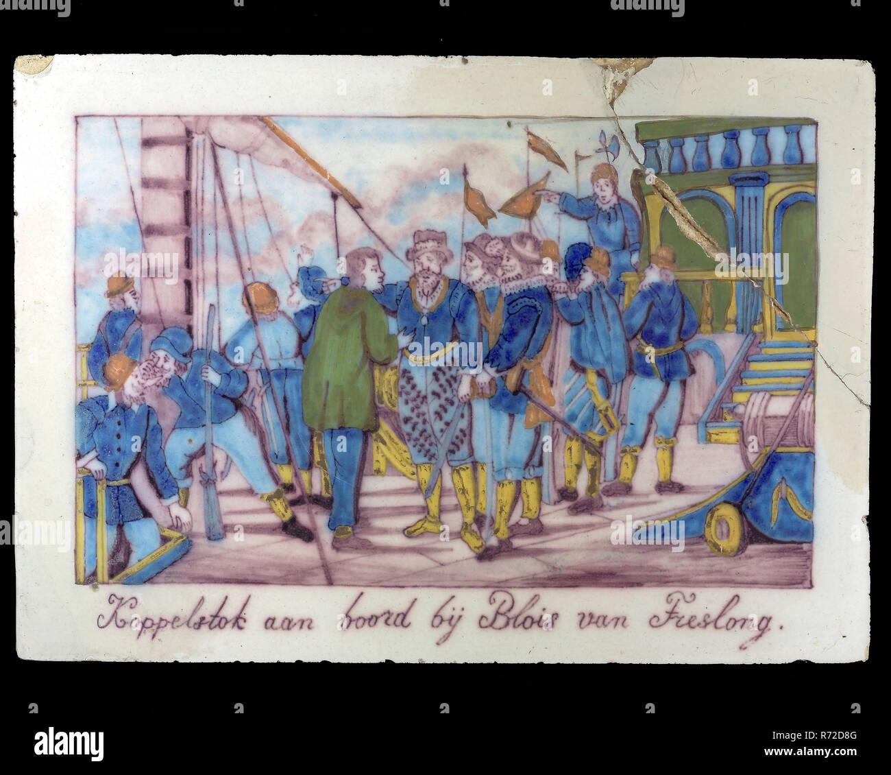 Multi Couleur Tuile Rectangulaire Avec Image Historique Dock Sur La Plaque En Blois Van Treslong Sculpture