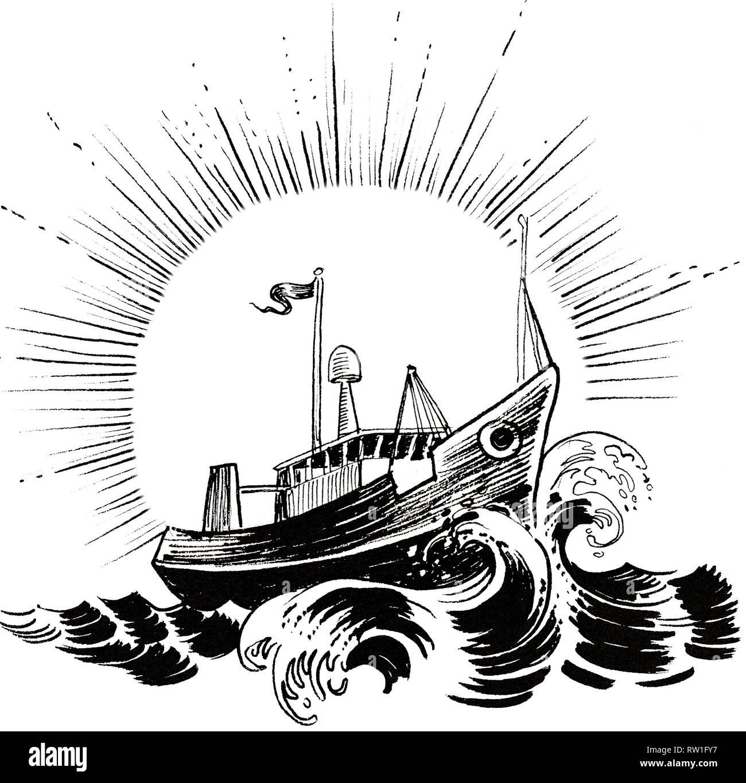 https www alamyimages fr chalutier de peche en mer agitee dessin noir et blanc encre image239135659 html