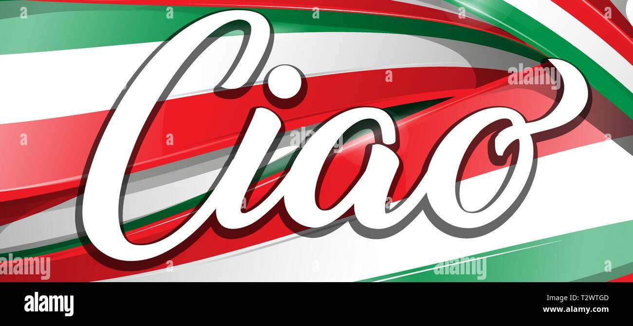 https www alamyimages fr ciao a la fois bonjour et au revoir en italien avec drapeau image242742541 html