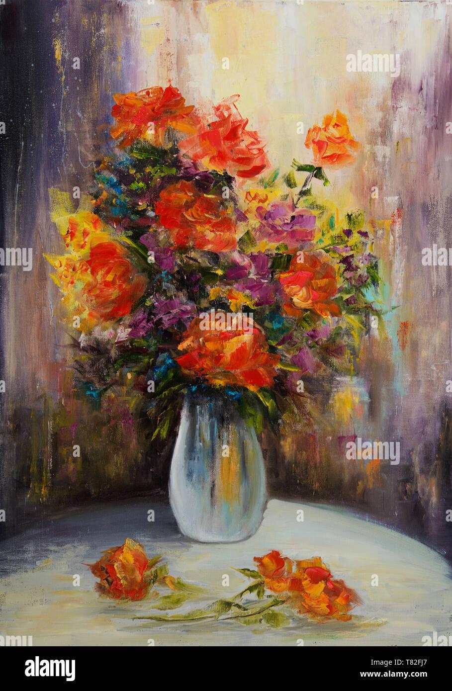 https www alamyimages fr peinture a l huile original montrant le bouquet maison de fleurs sur toile impressionnisme moderne modernisme marinism image245918575 html