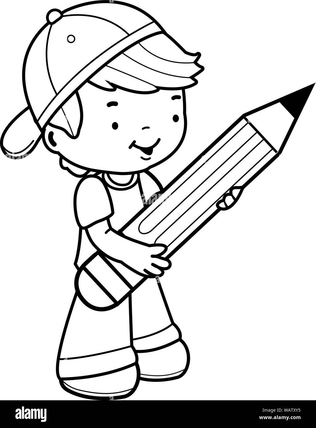 https www alamyimages fr petit garcon student holding un gros crayon livre de coloriage noir et blanc la page image264850073 html