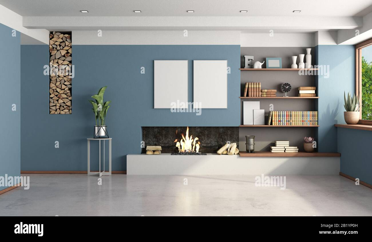 Tappeti, divani e sedie imbottite, siano posti ad. Soggiorno Blu Con Camino Moderno Senza Mobili 3d Rendering Foto Stock Alamy