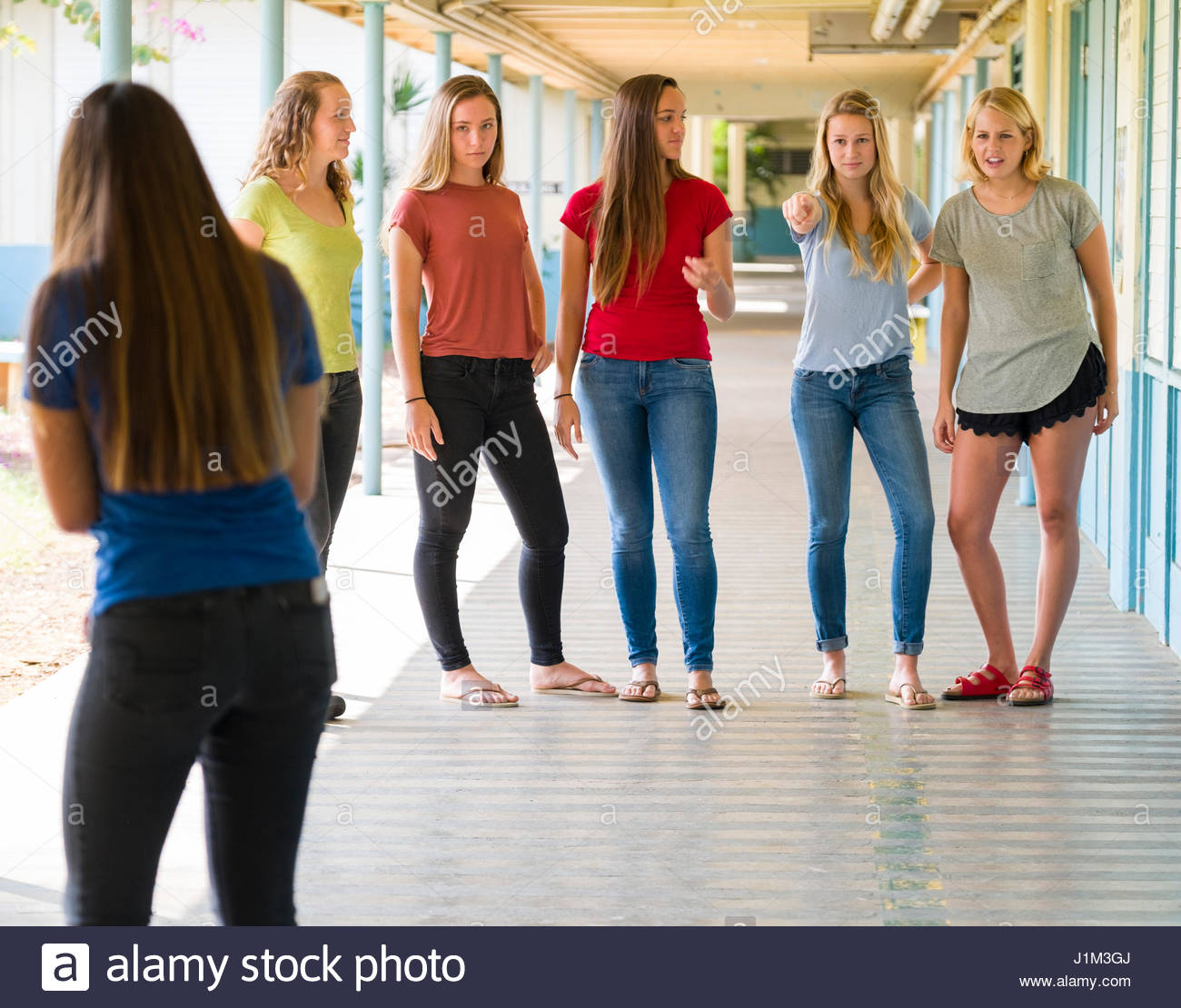 Un Gruppo Di Ragazze Adolescenti Bullismo Teen Ragazza