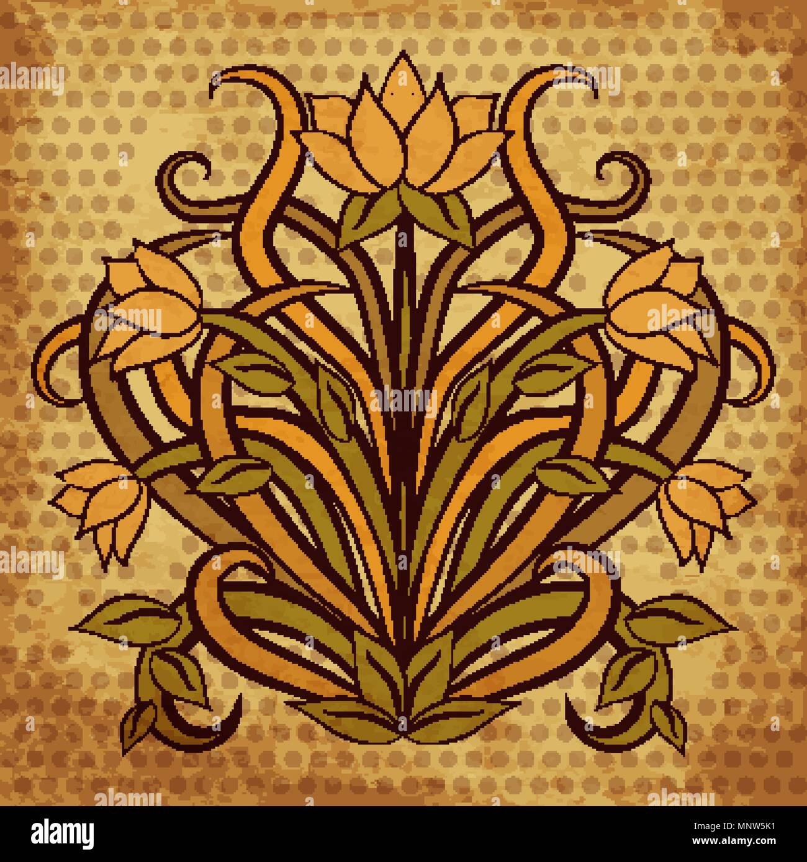 Agli inizi del '900, l'industria con le sue produzioni di carte da parati, consente l'accesso allo stile art nouveau a gran parte della. Carta Da Parati Floreale In Stile Art Nouveau Illustrazione Vettoriale Immagine E Vettoriale Alamy