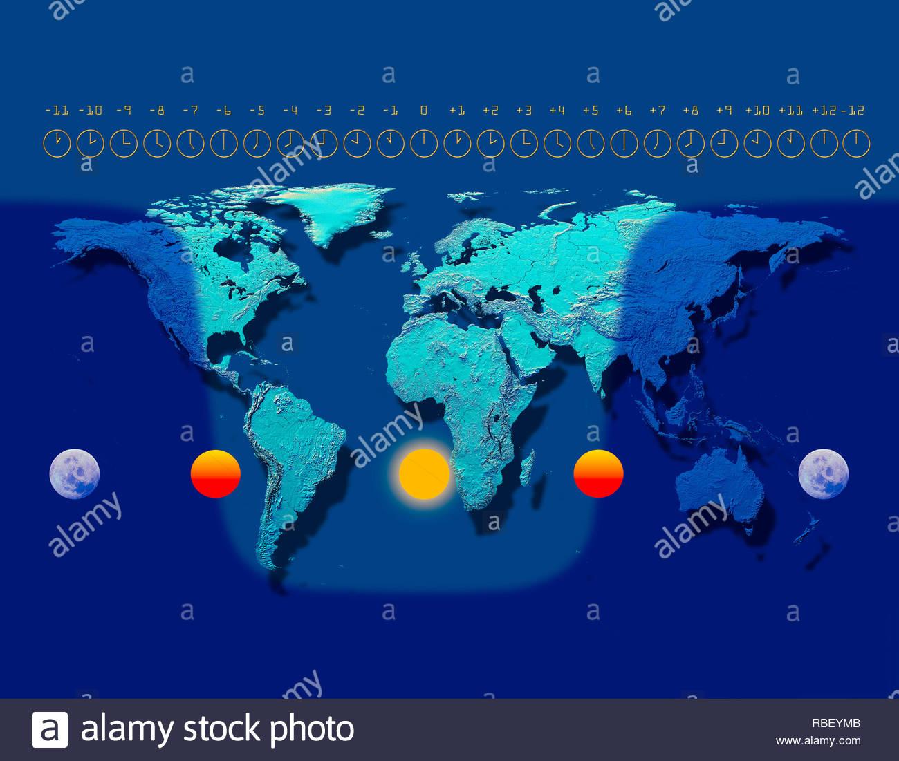 Time Zone Map Immagini E Fotos Stock