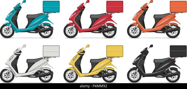 Free 2125+ delivery motorcycle mockup free yellowimages mockups. Delivery Scooter Vector Mockup With Left Side View Isolated Template Of Motorcycle On White Background For Vehicle Branding Corporate Identity Stock Vector Image Art Alamy