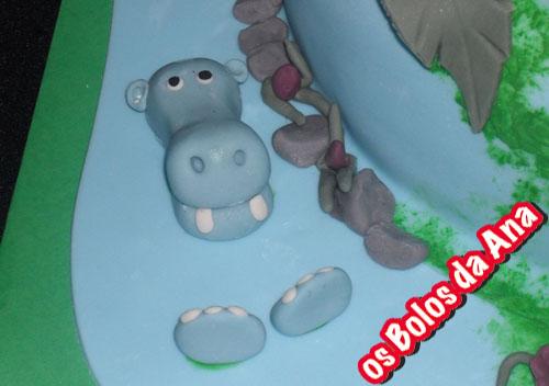 Bolo animais na selva Bolo personalizado hipopotamo