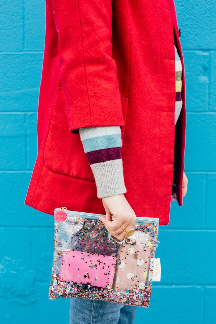 writes like a girl pink coat rainbow gap sweater11